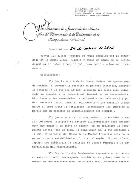 """Corte Suprema: """"Vidal Marcelo y otros c/Banco de la Nación ..."""