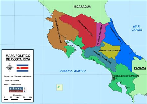 Costa Rica   Mapa Geográfico