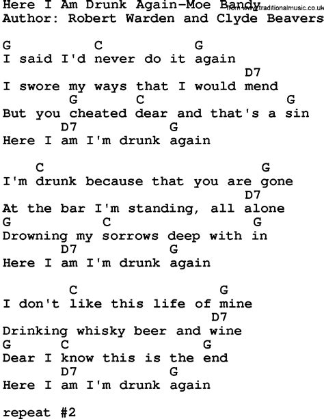 Country Music:Here I Am Drunk Again-Moe Bandy Lyrics and ...
