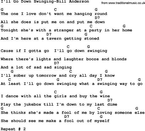 Country Music:I'll Go Down Swinging-Bill Anderson Lyrics ...
