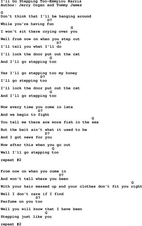 Country Music:I'll Go Stepping Too-Emmylou Harris Lyrics ...