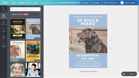 Crea carteles de se busca perro online gratis - Canva