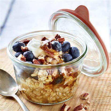 Creamy Blueberry Pecan Overnight Oatmeal Recipe   EatingWell