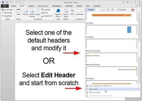 Creating Customized Headers in Microsoft Word 2013