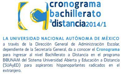 Cronograma Bachillerato a Distancia 2014   UNAM