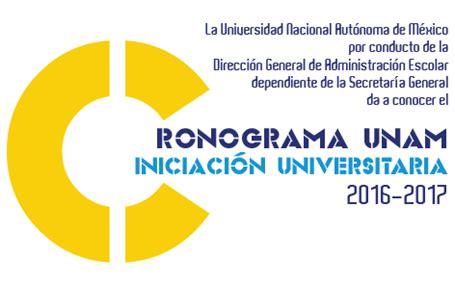 Cronograma Iniciación Universitaria 2016  UNAM