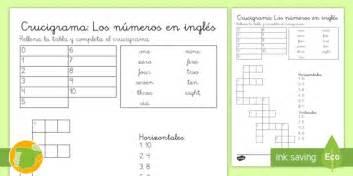 Crucigrama: Los números en inglés   numbers, lengua