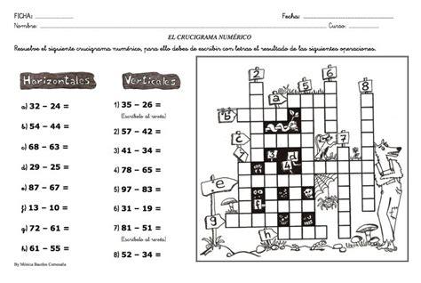 crucigrama numérico | ACTIVIDADES y FICHAS PARA ...
