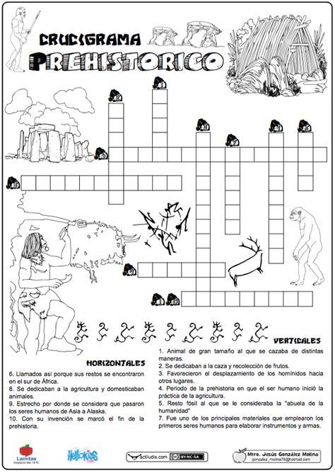 Crucigrama prehistórico   Actiludis