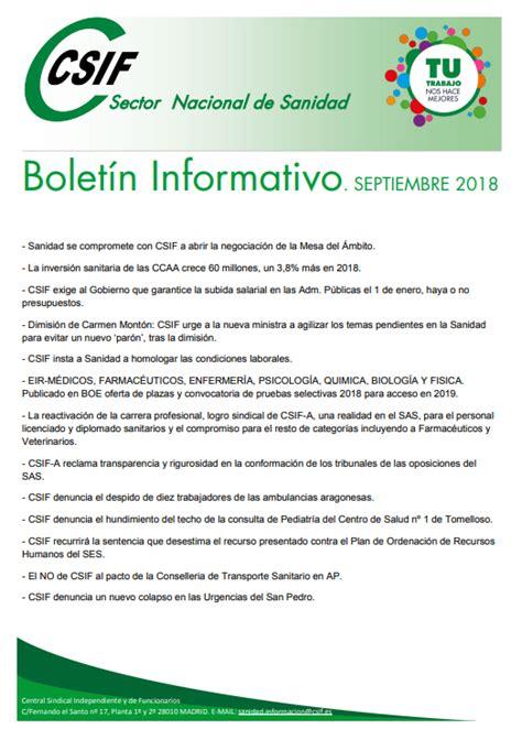 CSIF Torrevieja Salud: Boletin informativo CSIF sector ...