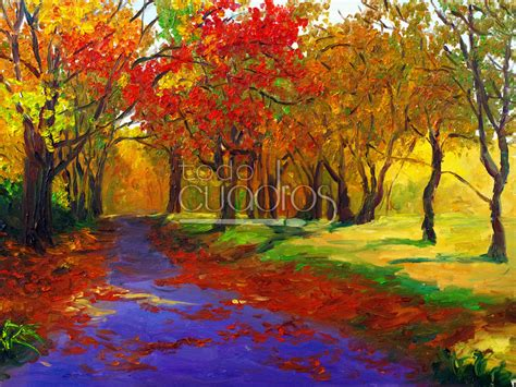 Cuadro Atardecer de Otoño, lienzo de paisaje al óleo.