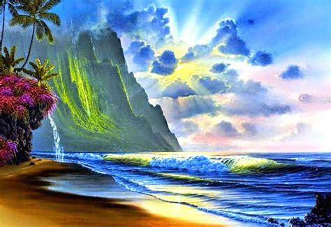 cuadro pintura paisajes bonitos de verano playa ...