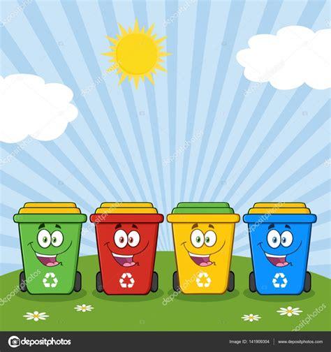 Cuatro Color reciclar contenedores de dibujos animados ...