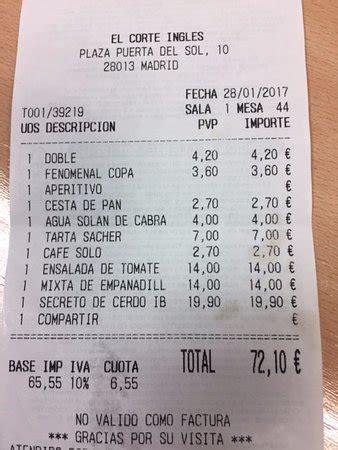 Cuenta de la comida: fotografía de CHICOTE El Corte Inglés ...