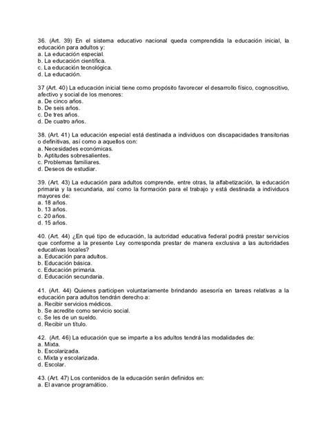 Cuestionario ley general de educacion
