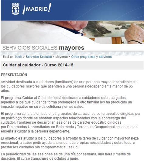 Cuidar al cuidador  curso del ayuntamiento de Madrid para ...