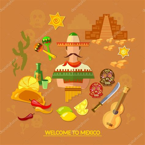 Cultura mexicana y comida mexicana — Vector de stock ...