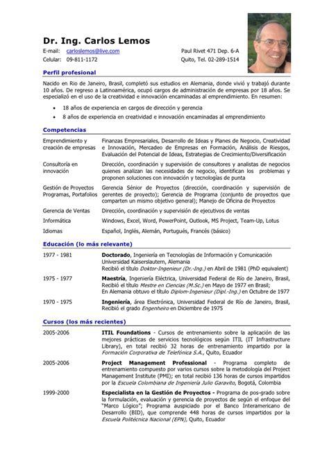 Curriculum Vitae: Curriculum Vitae Formato En Espanol