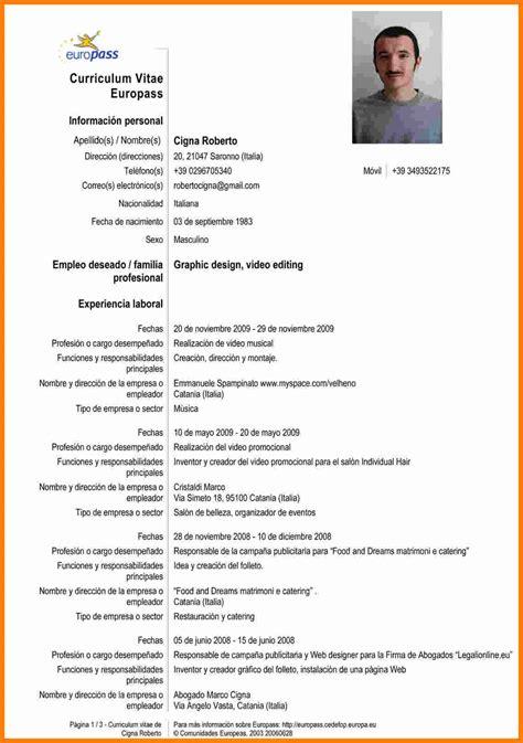 Curriculum Vitae Europeo Espanol | firmakoek