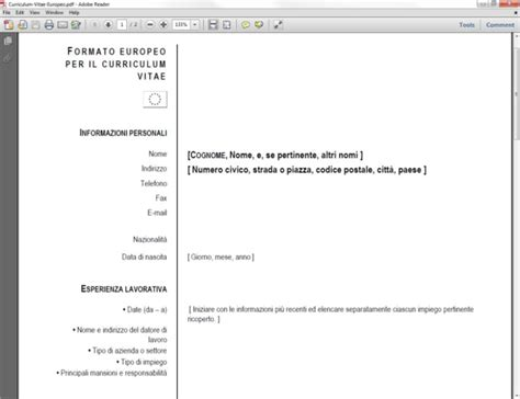 Curriculum Vitae Europeo in PDF - Download