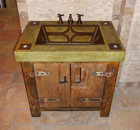 Custom Made Vanity With Rustic Base And Integral Concrete ...
