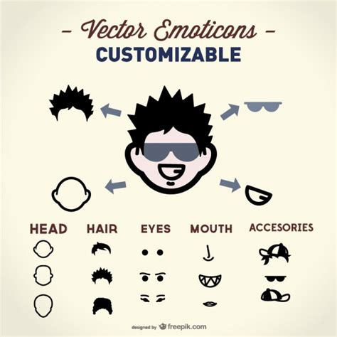 Customizable emoticon with face elements Vector | Free ...