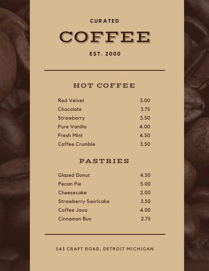 Customize 283+ Coffee Shop Menu templates online - Canva