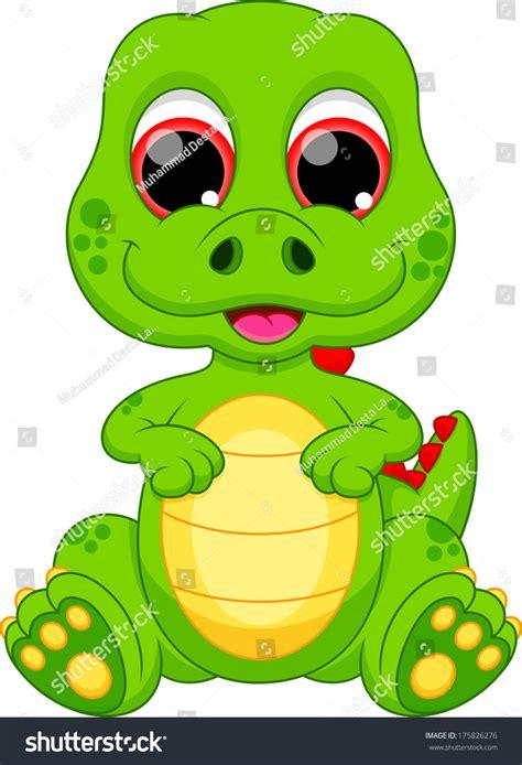 Cute Baby Dinosaur Cartoon Stock Illustration 175826276 ...