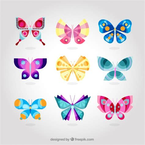 Cute colorful butterfly collection Vector | Free Download