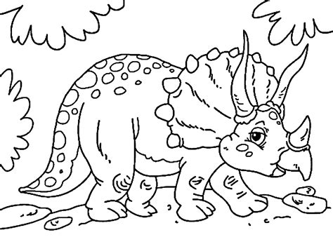 Cute little triceratops dinosaur coloring pages for kids ...