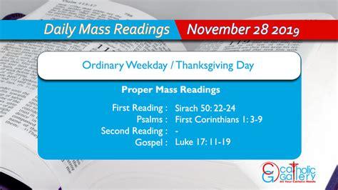 Daily Mass Readings - 28 November 2019 - Thursday - Proper ...