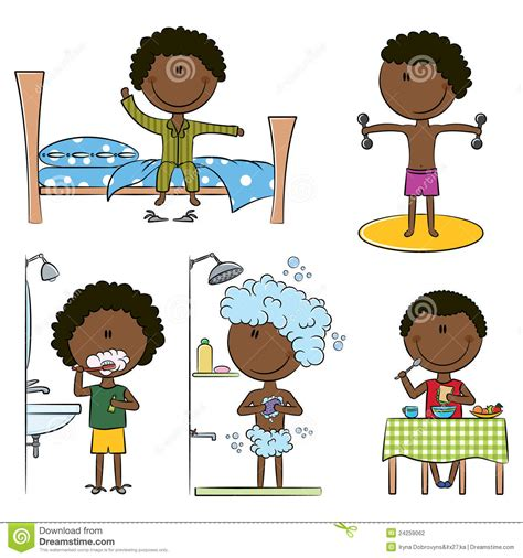 Daily Morning African-American Boys Life Stock Vector ...