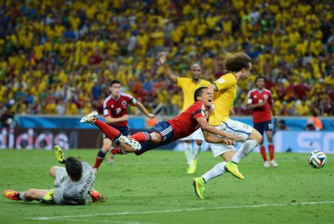 David Luiz in Brazil v Colombia: Quarter Final - 2014 FIFA ...