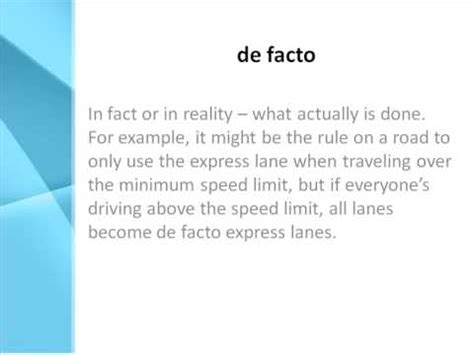 de facto Definition - What Does de facto Mean? - YouTube