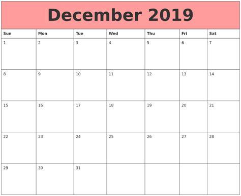 December 2019 Calendars That Work