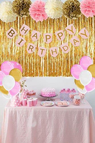 Decoraciones De Cumpleaños De Color Rosa Y Dorado Con ...