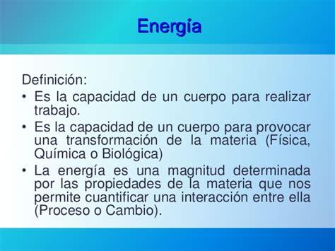 Definición de Energía y su clasificación
