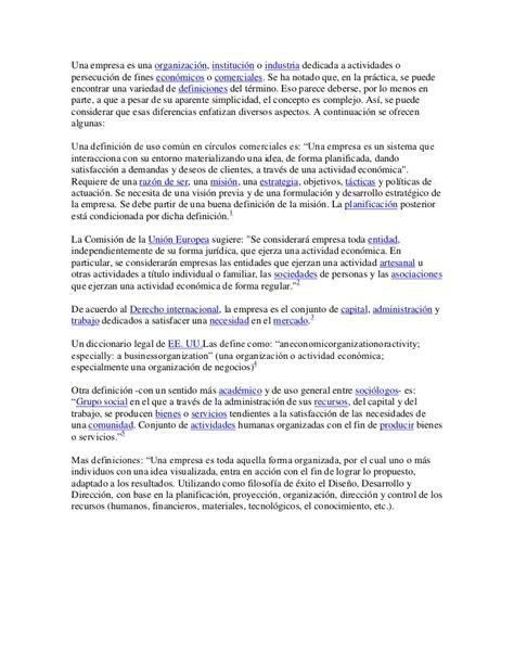 Definicion organizacion, empresa y sociedades
