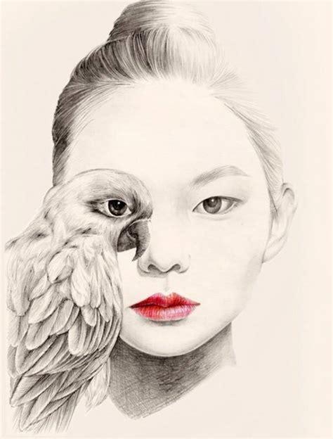Delicados dibujos a pluma y lápiz de muchachas con pájaros ...