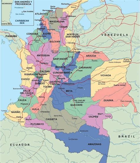 Departamentos y capitales de Colombia.