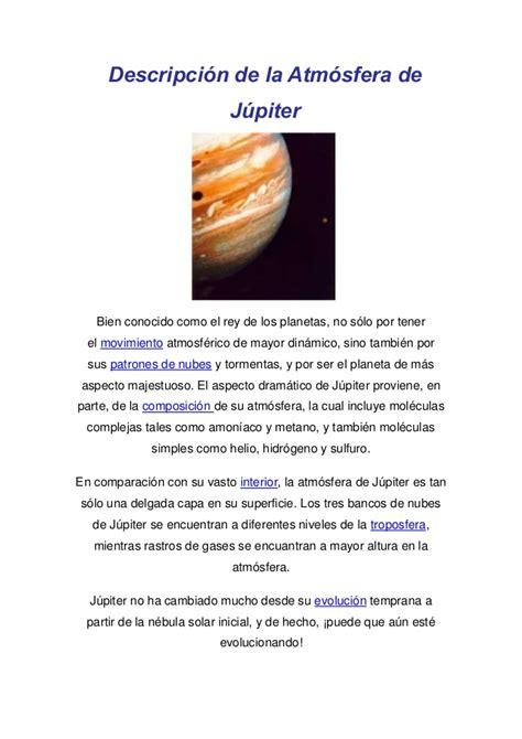Descripción de la atmósfera de júpiter