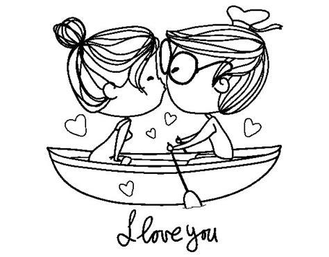 Desenho de Beijo em um barco para Colorir   Colorir.com