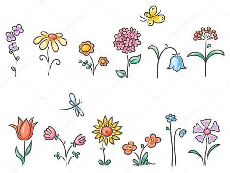 Desenho de flores de diferentes tipos — Vetor de Stock ...