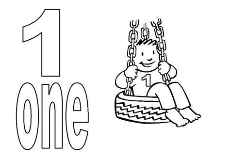 Desenho de Número 1 em inglês para colorir   Tudodesenhos
