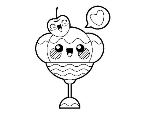 Desenho de Sundae kawaii para Colorir - Colorir.com
