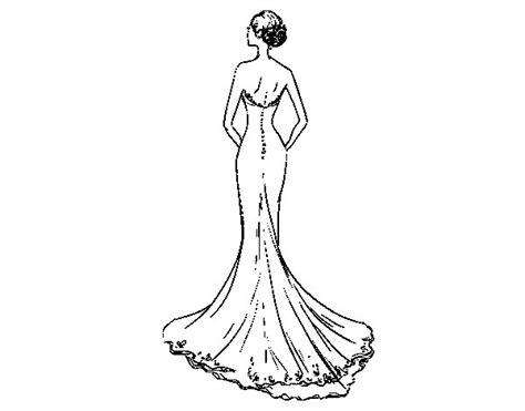 Desenho de Vestido de noiva com cauda para Colorir ...