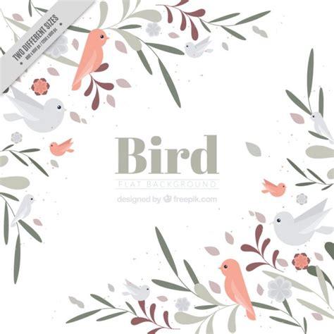 Desenho pássaros bonitos e folhas de fundo no estilo do ...