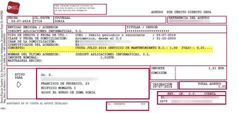 Desglose impuestos recibo en papel que el banco envía