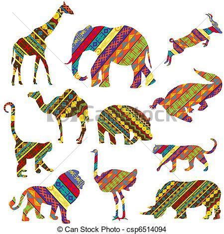Dessin de textures, ensemble, animaux, africaine, fait ...