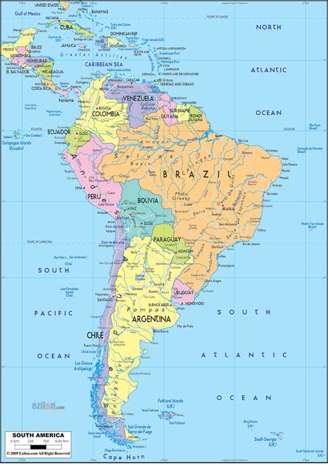 Detailed Clear Large Political Map of South America ...